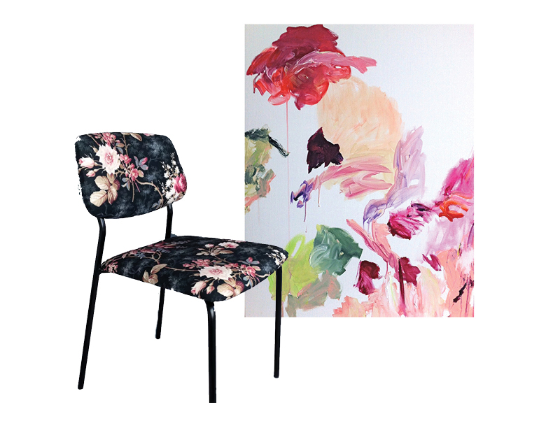 Floral inspiration found in an old issue of Elle Decor. Painting by  Florence Nerisson . Chair by  Heritage Studio . Loving the vintage print with new painting by Nerisson.