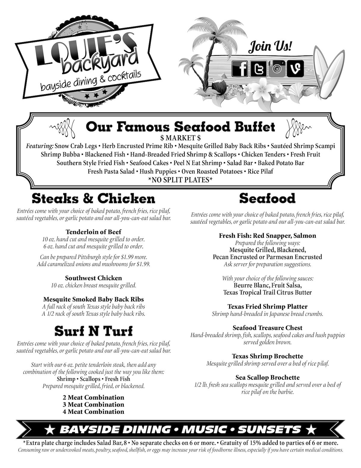 Louie's Bayside Dining Menu Page 1