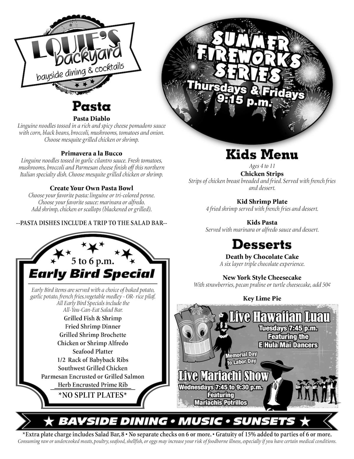 Louie's Bayside Dining Menu Page 2