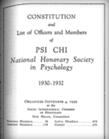 Psi Chi Constitution as it first appeared in 1930