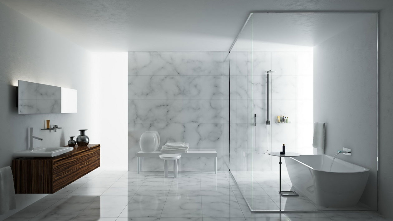 Marvelous-Decor-Modern-Glass-Shower-Doors-for-Stall-Shower-Included-with-Bright-Bathtub-and-Vintage-Sidetable-at-Expansive-Bathroom-Area.jpeg