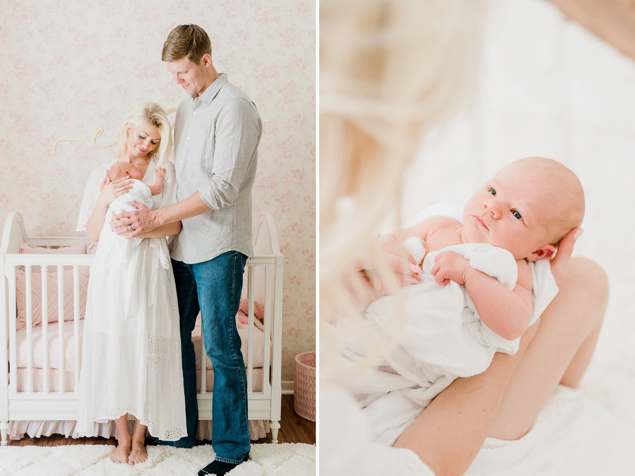bright and light in home lifestyle newborn photo