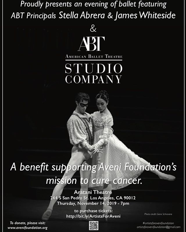 Get your tickets for our performance benefiting the Aveni Foundation's mission to cure cancer ❤️ Nov. 14 at 7 pm. Downtown LA—Aratani Theatre. Link to buy tix in bio💌 ‼️❌‼️PROMO CODE valid for a 10% discount until Oct. 15—early  #ballet #benefit #gala @jamesbwhiteside #ABTStuCo #ABTApprentices #stellastucoandstars #avenifoundation #dancingforacure #dancingforacause #downtownLA #aratanitheatre Nov. 14, 7 pm