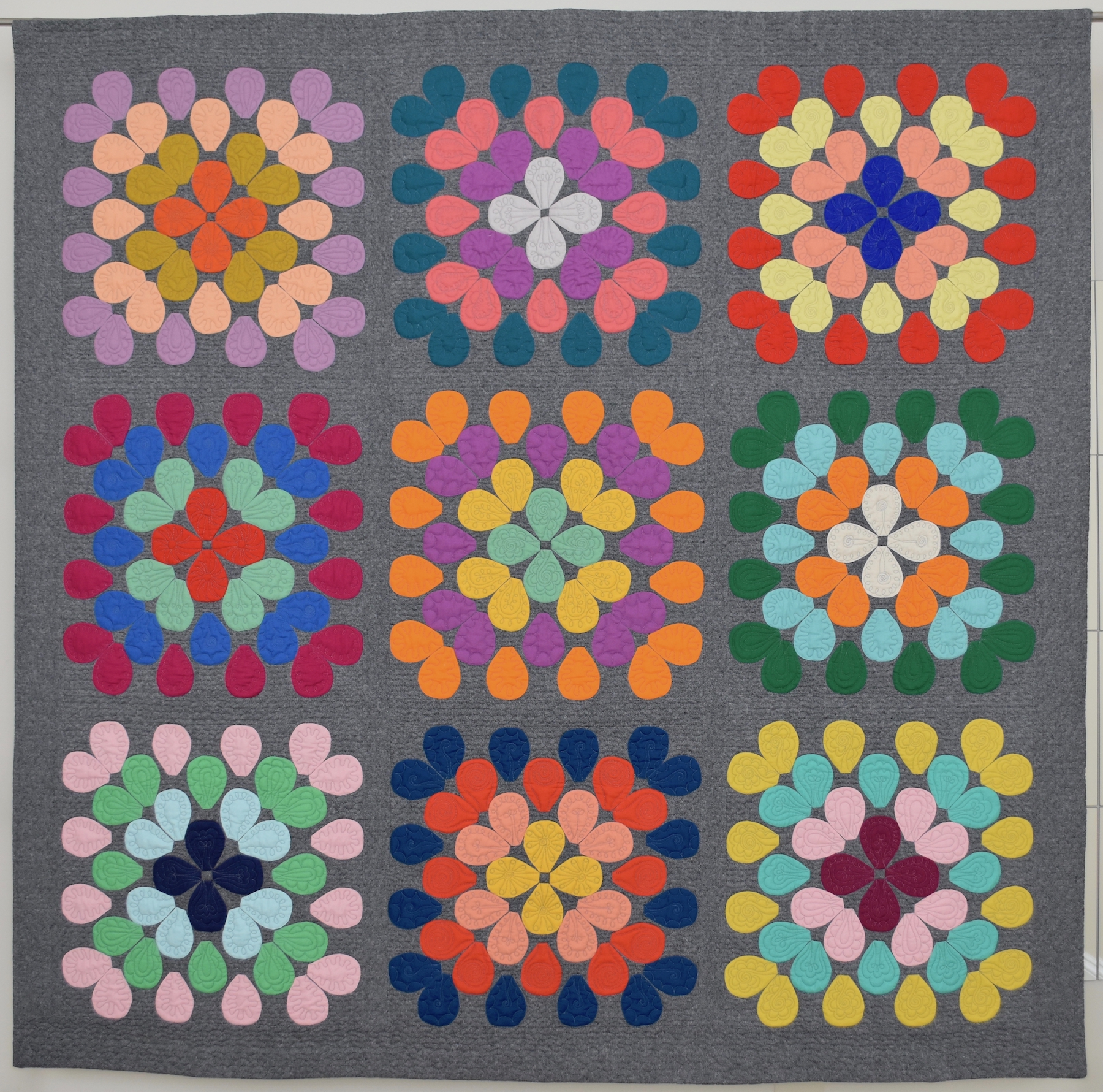"3rd   Place: Fauchet  62"" x 61"" Pieced by Virginia Robinson Triangle MQG, Chapel Hill, NC Quilted by Suzan deSerres"