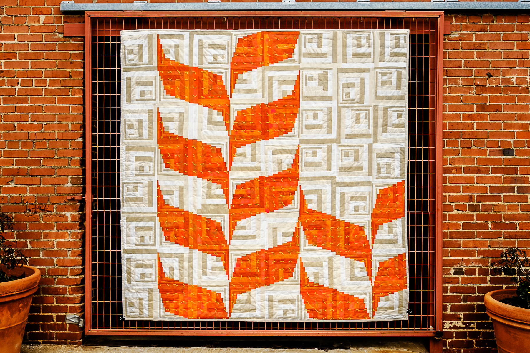 "3rd   Place: Prairie Silk   89"" x 90"" Pieced and quilted by Agnes Stadler, Ann Solinski, Debbie Wanzer, Elizabeth Richards, Katie Cox Oklahoma City MQG, Edmond, Oklahoma"