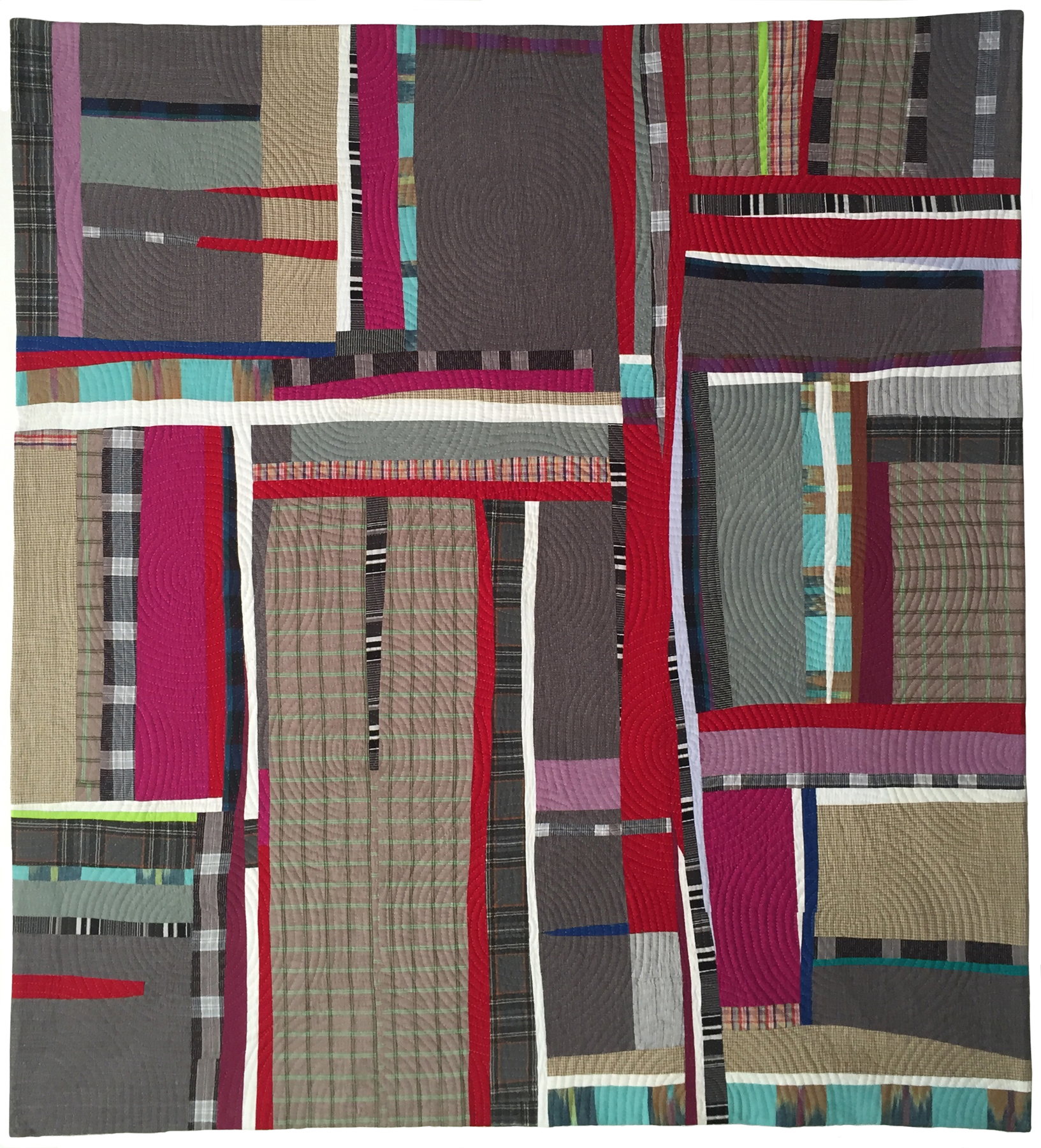 "2nd   Place: Stripe Tease  54"" x 58"" Pieced and quilted by Jennifer Emry Individual member, Arlington, VA"