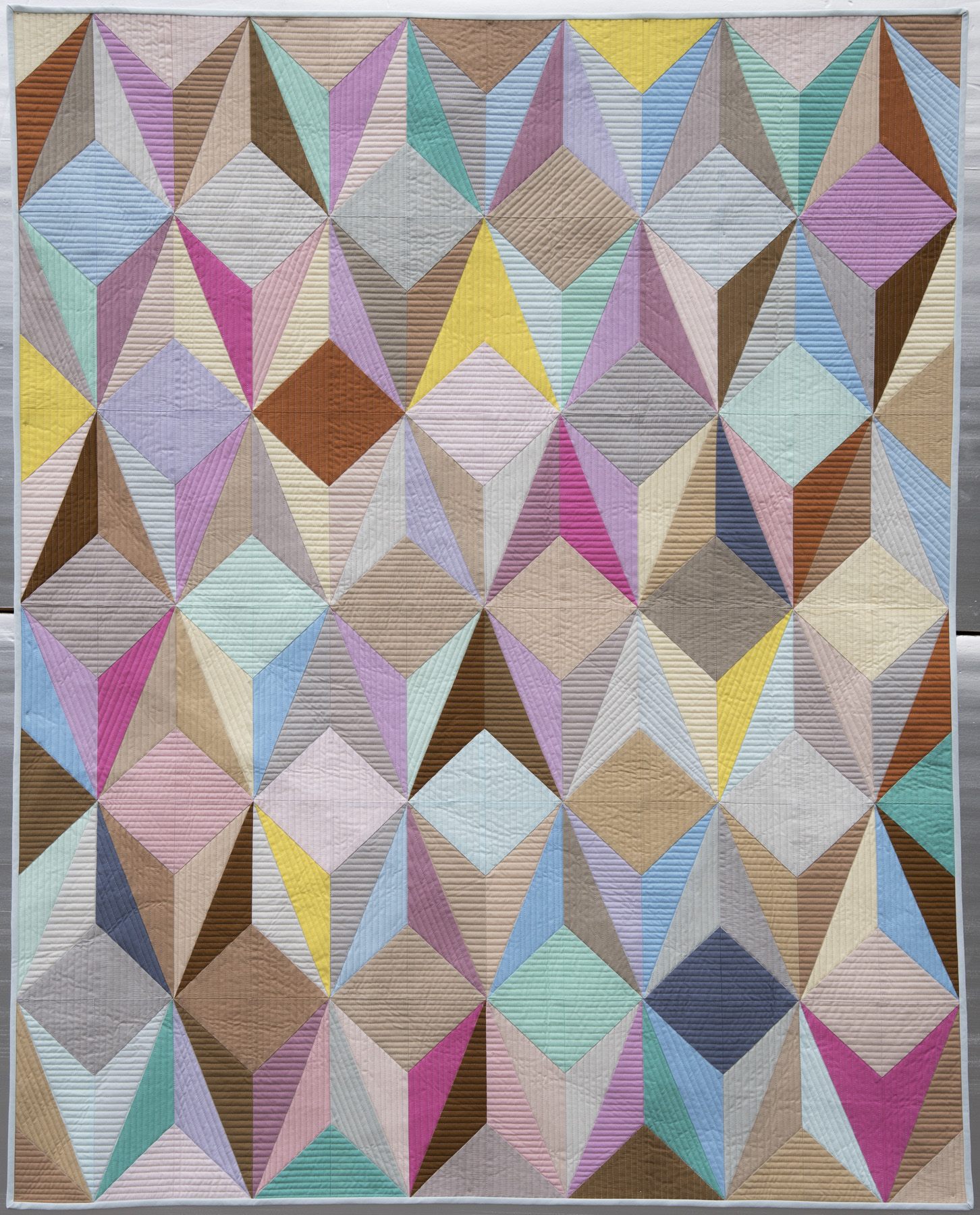"""3rd   Place: Aura  48"""" x 58"""" Pieced by Nydia Kehnle Individual member, Monroe, NY Quilted by Gina Pina"""