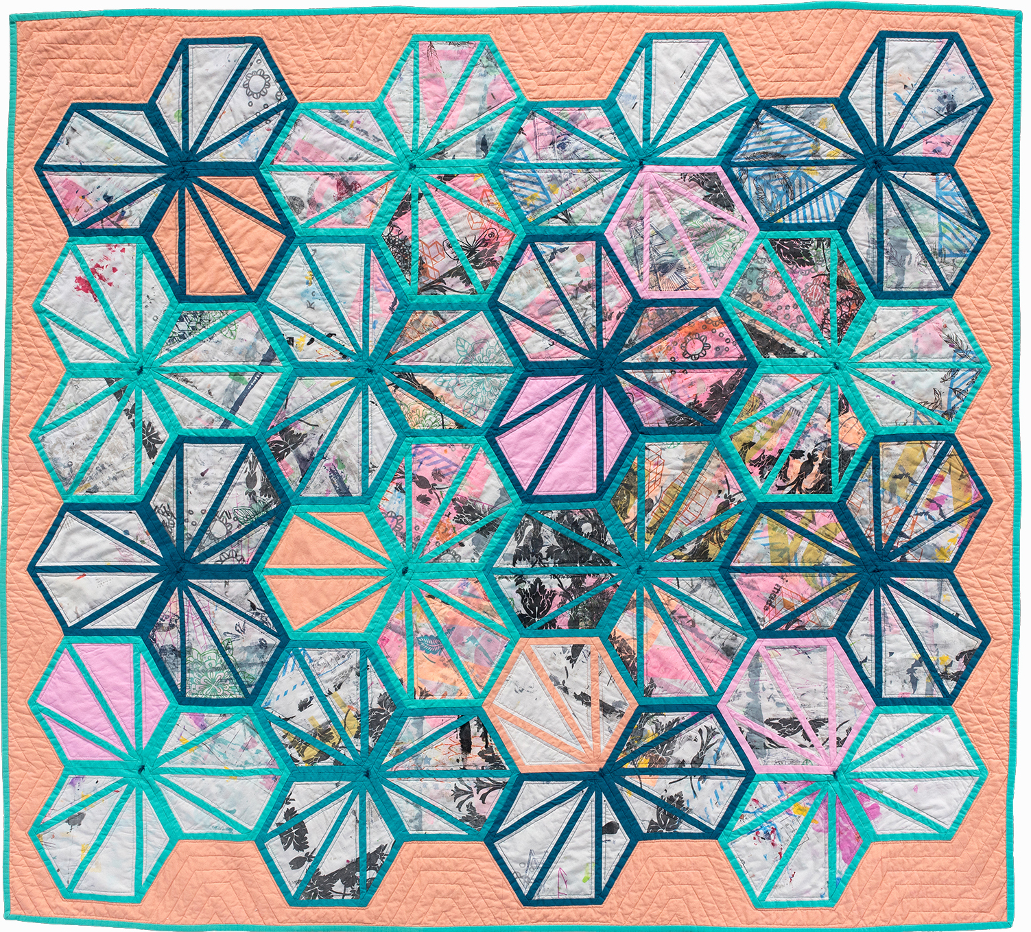 "1st   Place: Incidental Collaboration  65"" x 72"" Pieced and quilted by Nora Renick Rinehart Chicago MQG, Chicago, IL"