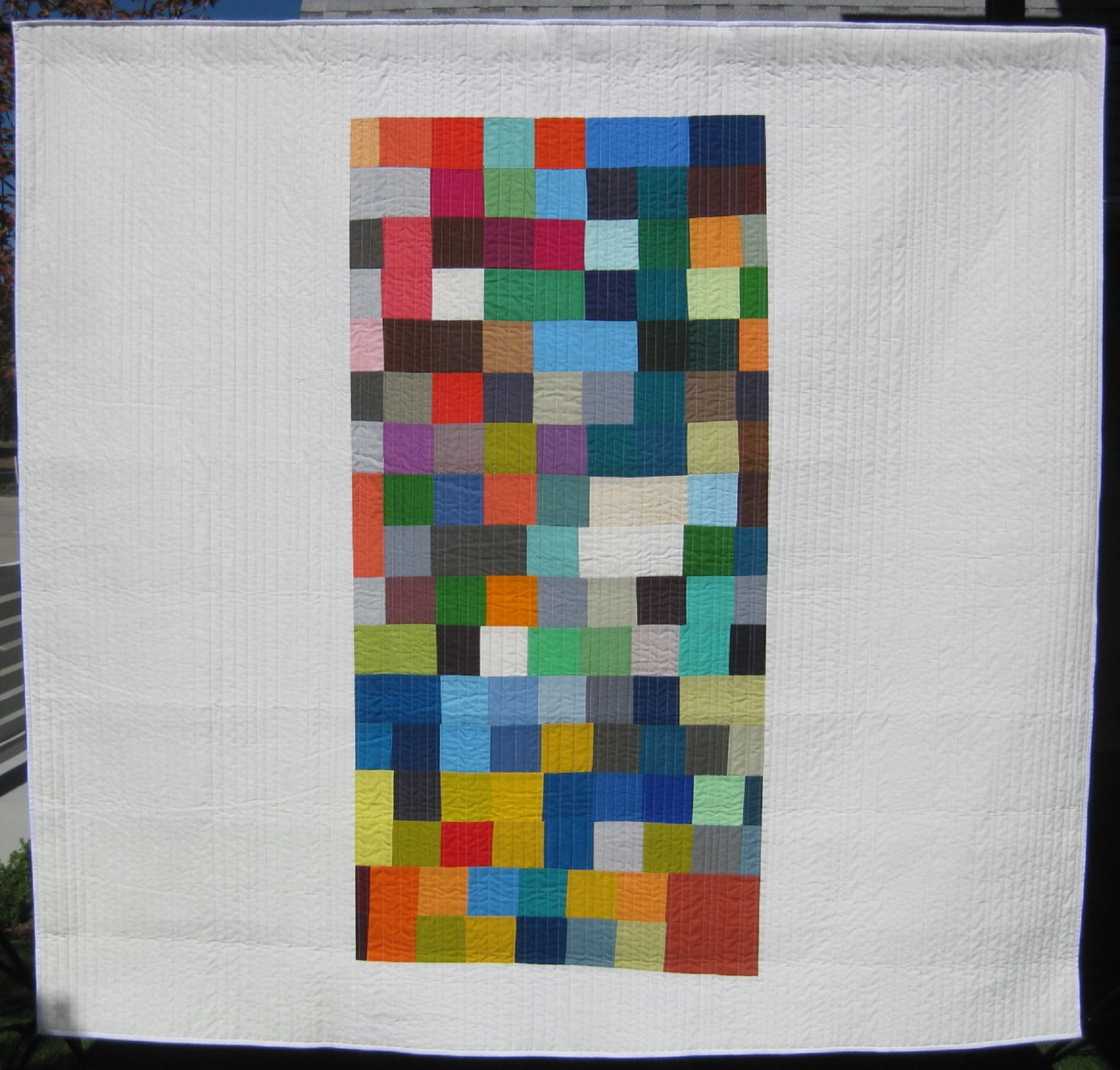 "3rd   Place: Perseverance  92"" x 88"" Pieced and quilted by Isaac Weise Individual member, Longmont, Colorado"