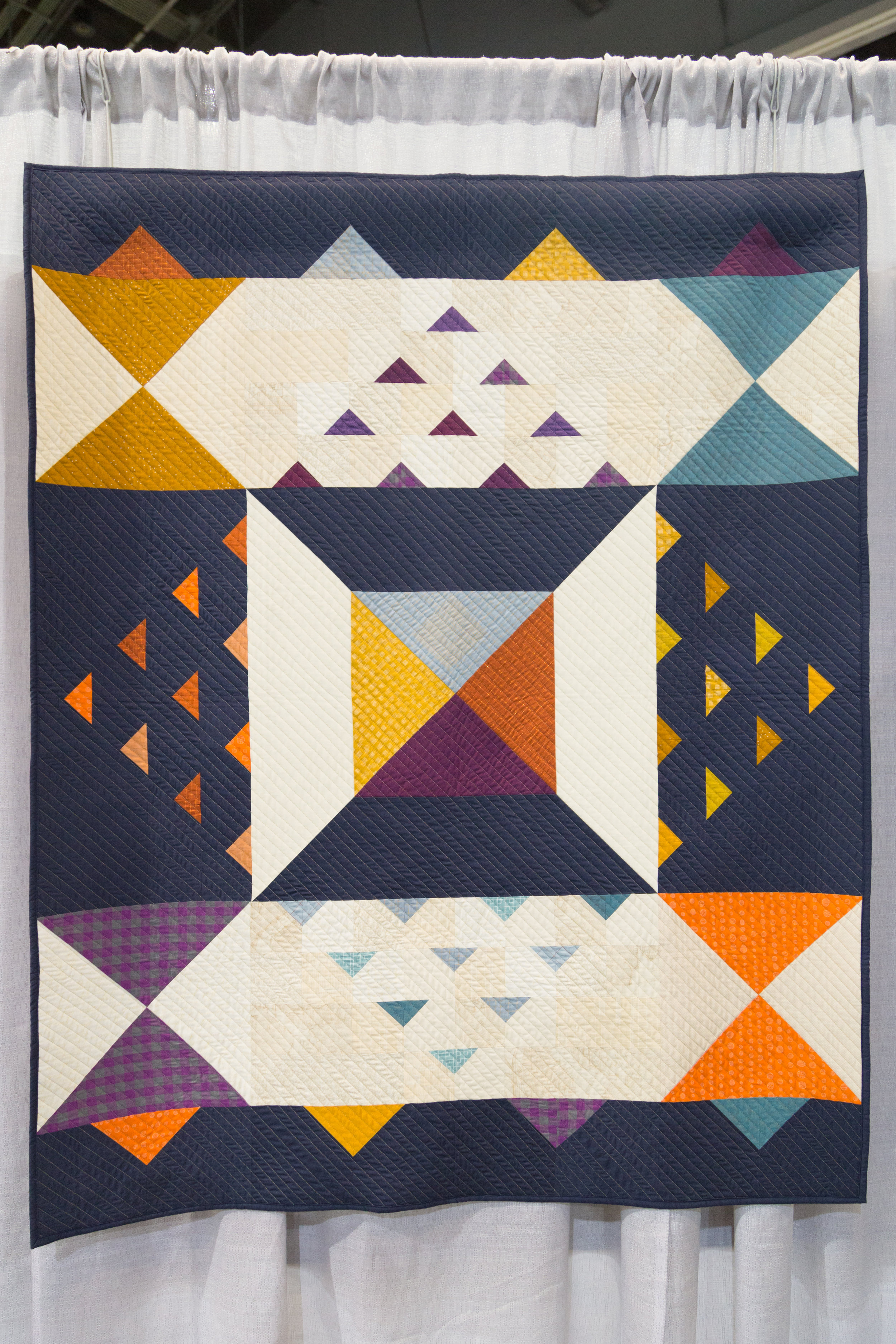 "3rd Place: Autumn Hours  45"" x 60"" Pieced and quilted by Daisy Aschehoug Baton Rouge, LA, United States Baton Rouge Modern Quilt Guild"