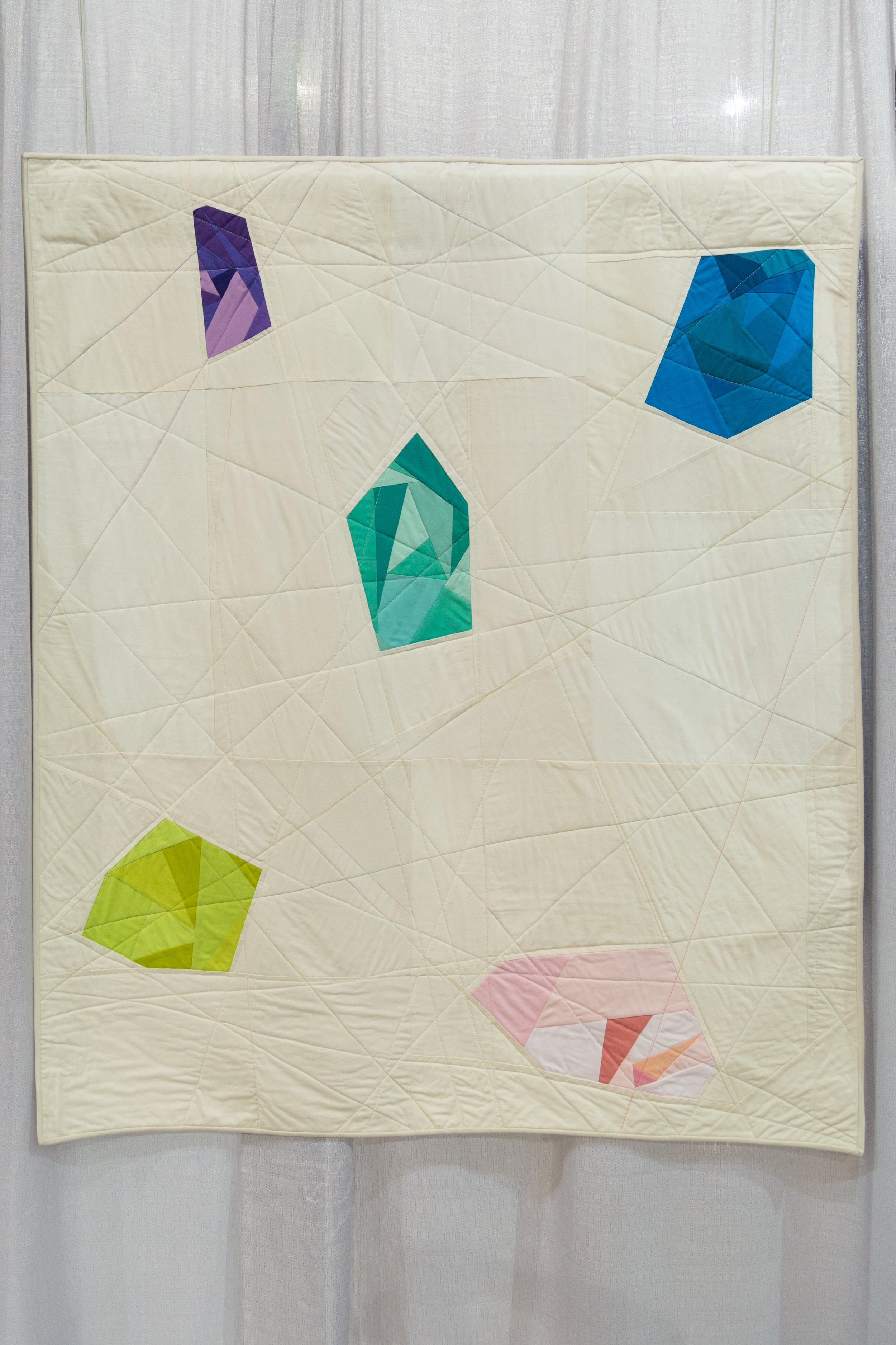 "1st Place: Gemstones  45"" x 53"" Pieced and quilted by Lilianna Kehnle Monroe, New York, United States  Individual MQG Member"