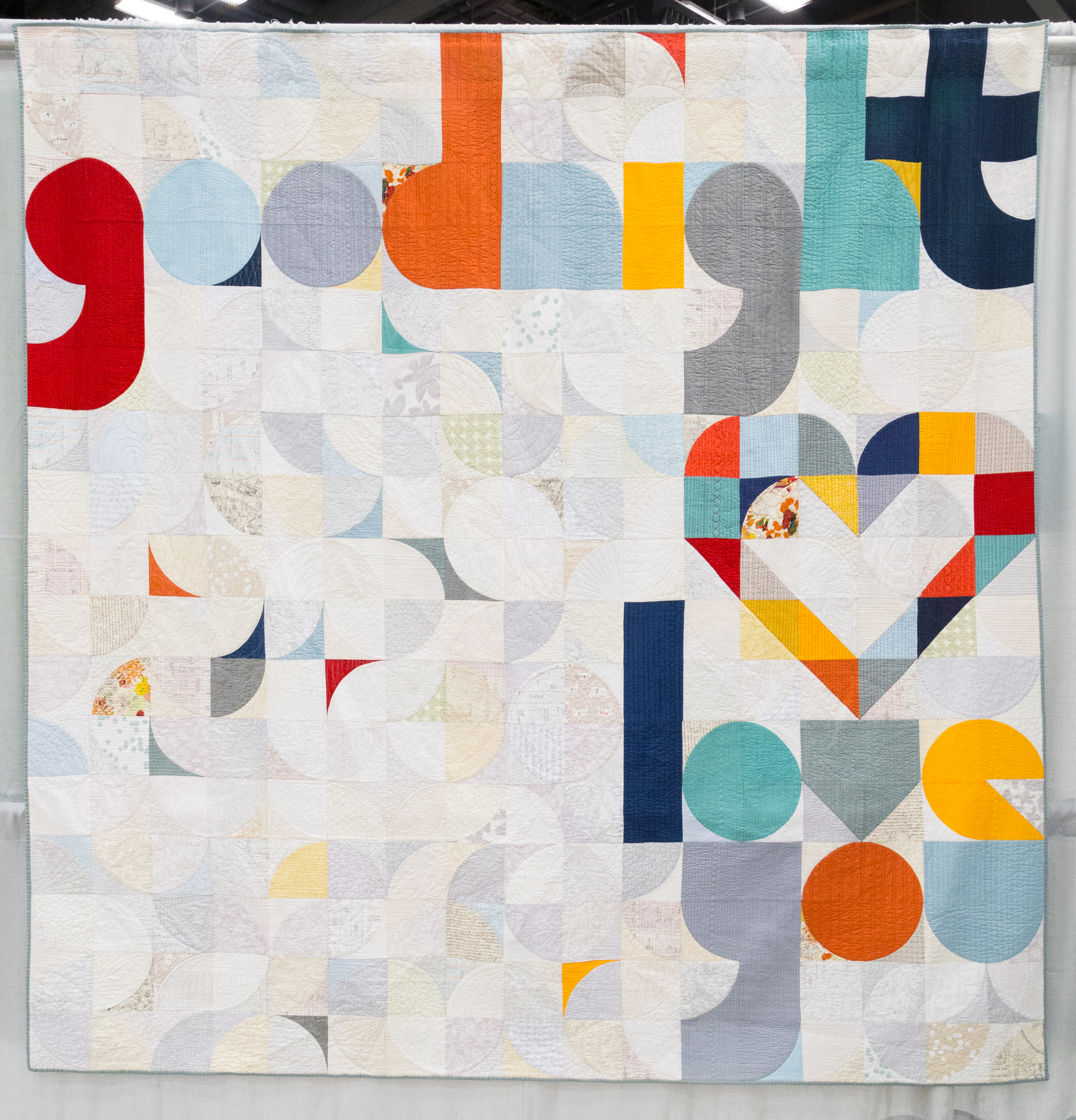 """Quilt for our Bed    108"""" x 108""""   Pieced by Laura Hartrich Quilted by Nikki Maroon Oak Park, IL Chicago MQG"""