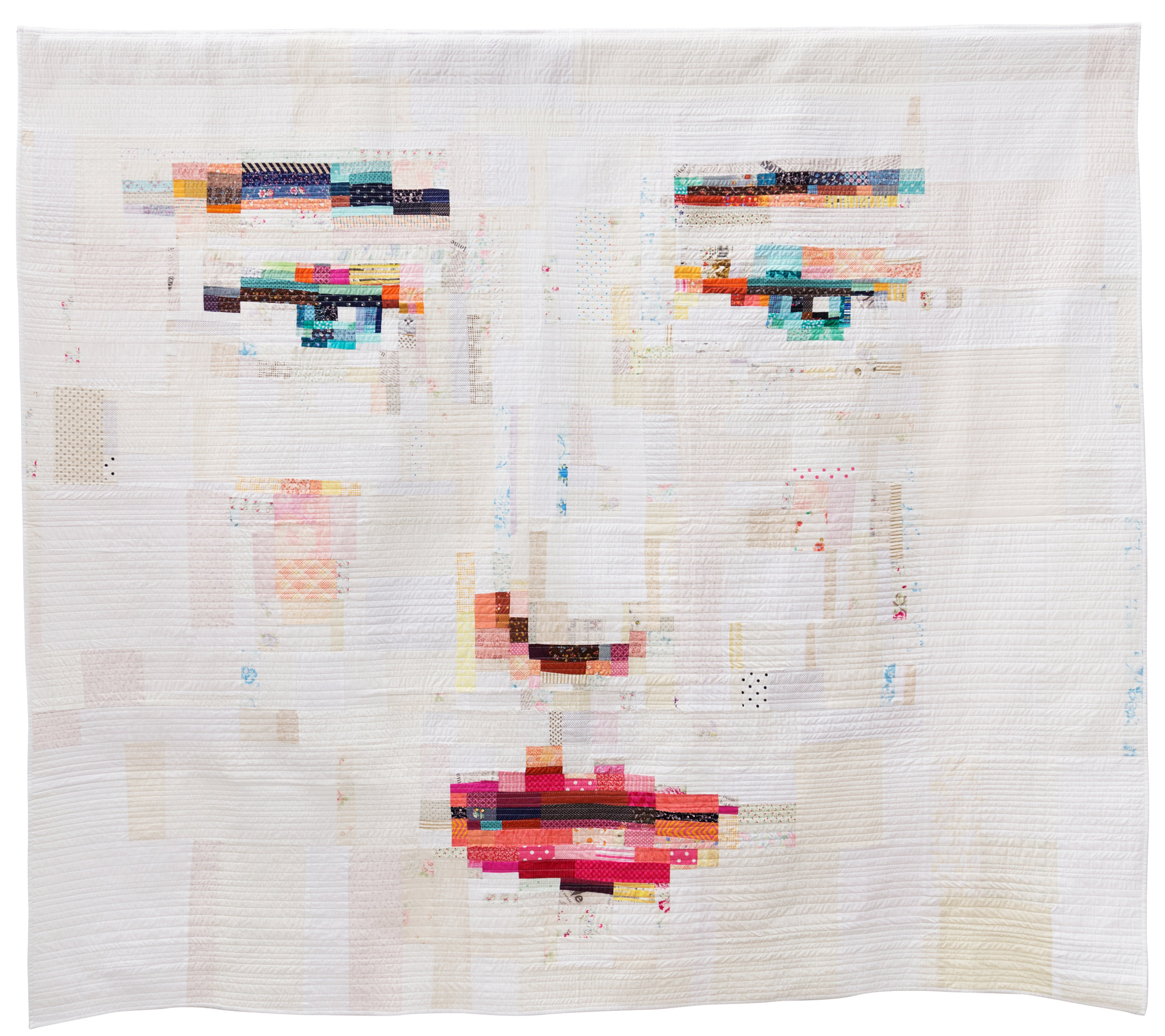 """Face #1  90"""" x 80"""" Pieced by Melissa Averinos Quilted by: Melissa Averinos & Suzanne Whiteside West Barnstable, Massachusetts Individual MQG Member"""