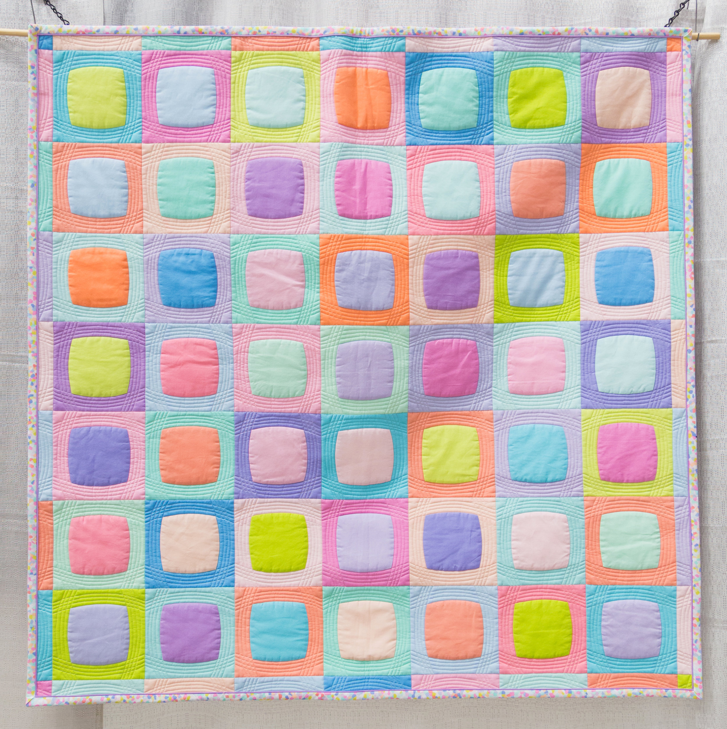 """2nd Place: After Dinner Mints  44"""" x 44"""" Pieced & Quilted by Paige Alexander Easley, South Carolina Individual MQG Member"""