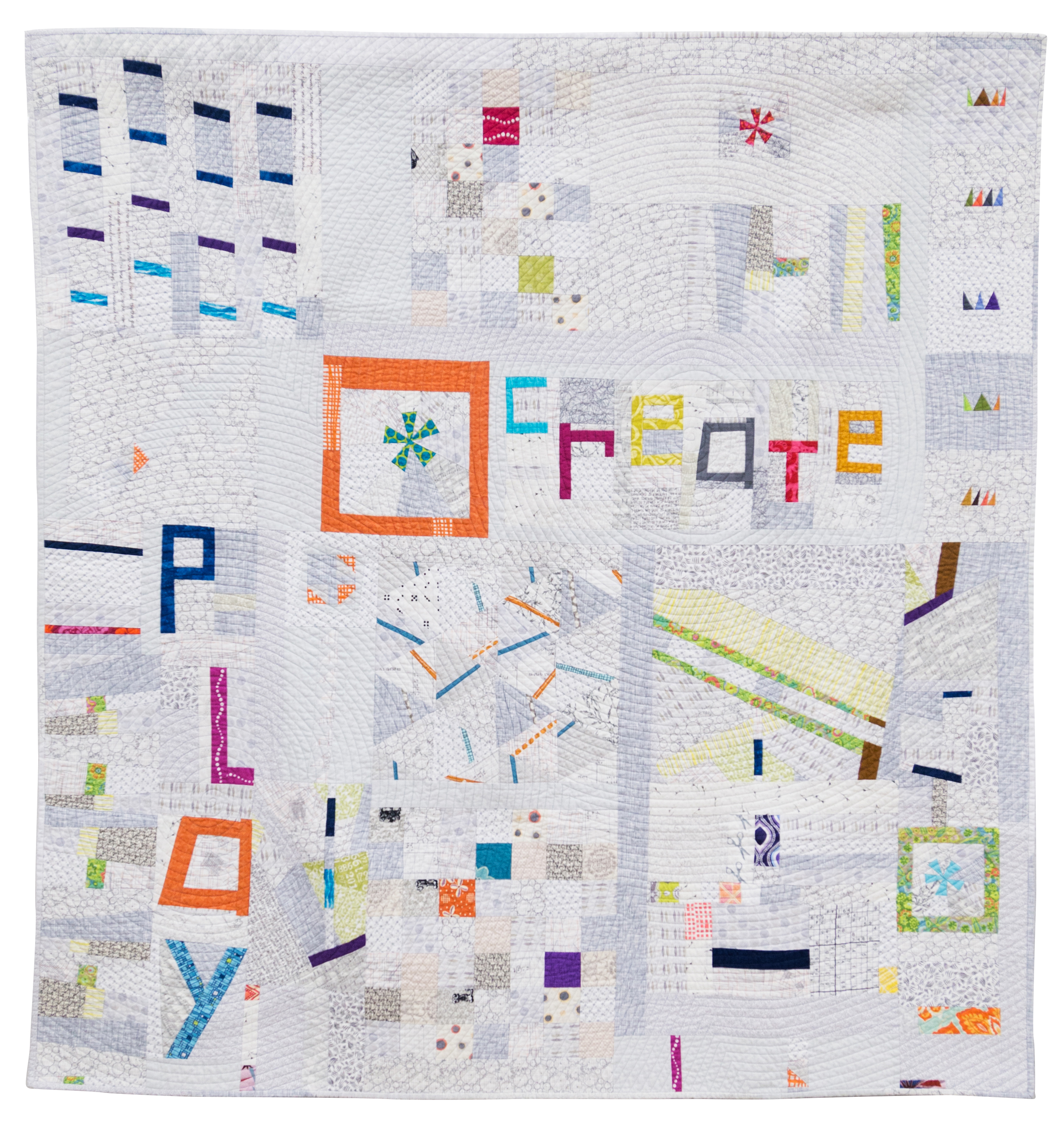 """1st Place:   Playing with Little Bits  53"""" x 55"""" By Participants of Mid-Atlantic MOD 2014 Pieced by: Rose Daley, Anna Levengood, Jill Stafford, Jessica Skultety, Jessica Levitt, Robin Tillsworth, Rachel Singh, and Elizabeth Timmons Quilted by: Rose Daley Columbia, Maryland"""