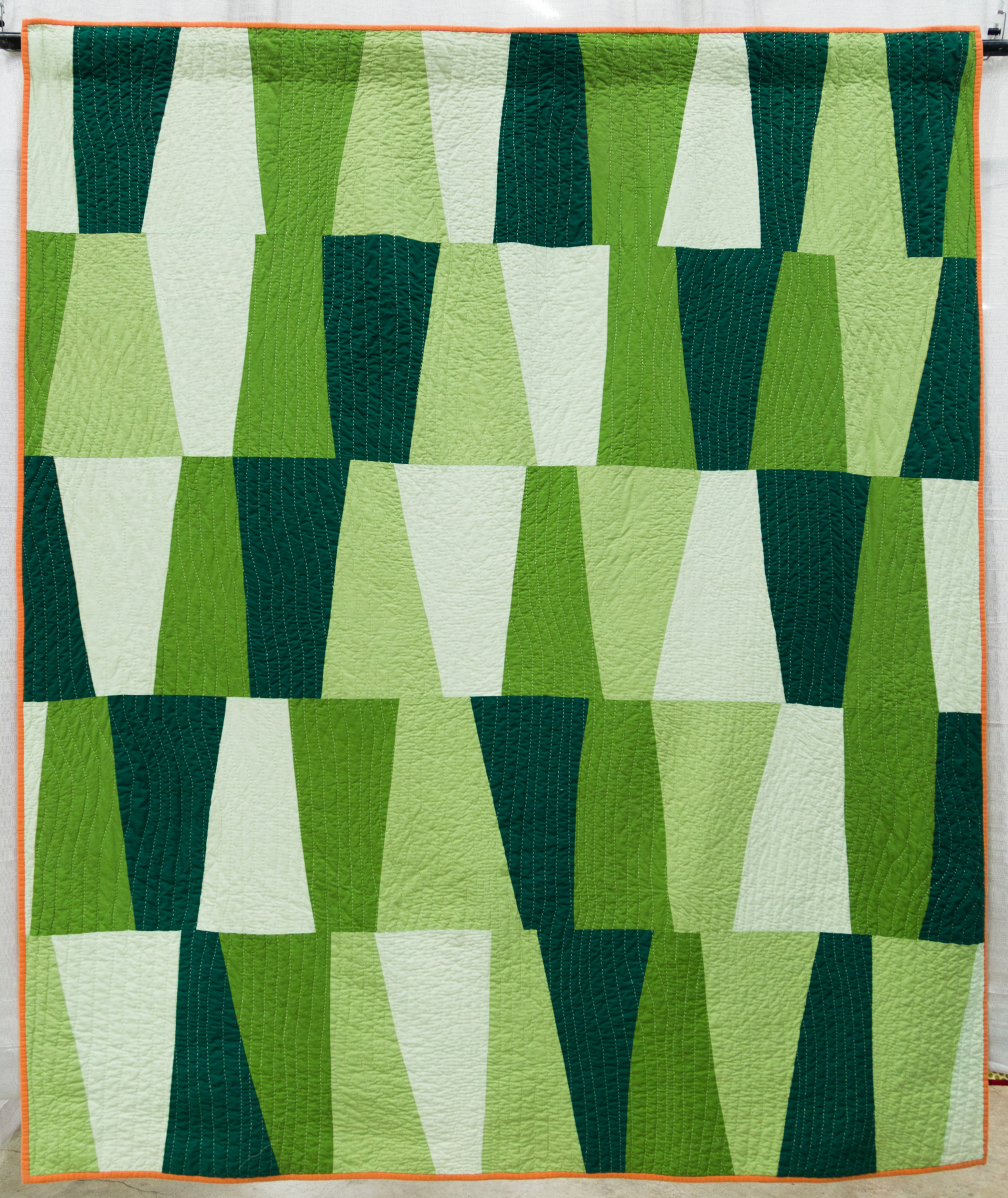 """2nd Place:   North Alabama Hillsides  77"""" x 91"""" Pieced & Quilted by Cathy Fussell Columbus, Georgia Individual MQG Member"""