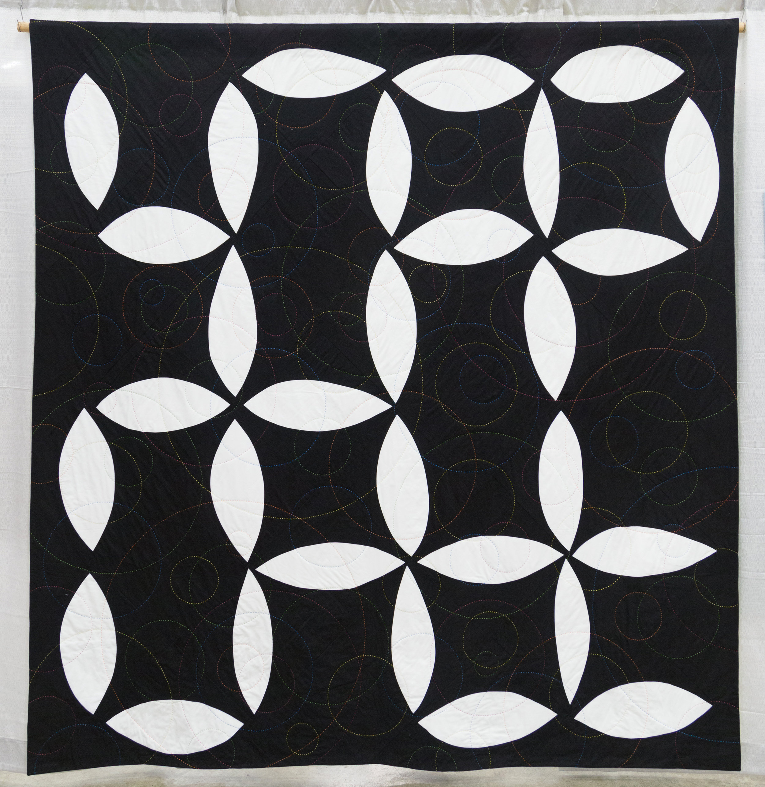 """3rd Place: Fill the Void  84.5"""" x 88.5'"""" Pieced & Quilted by Cinzia Allocca Pierrefonds, Quebec, Canada"""