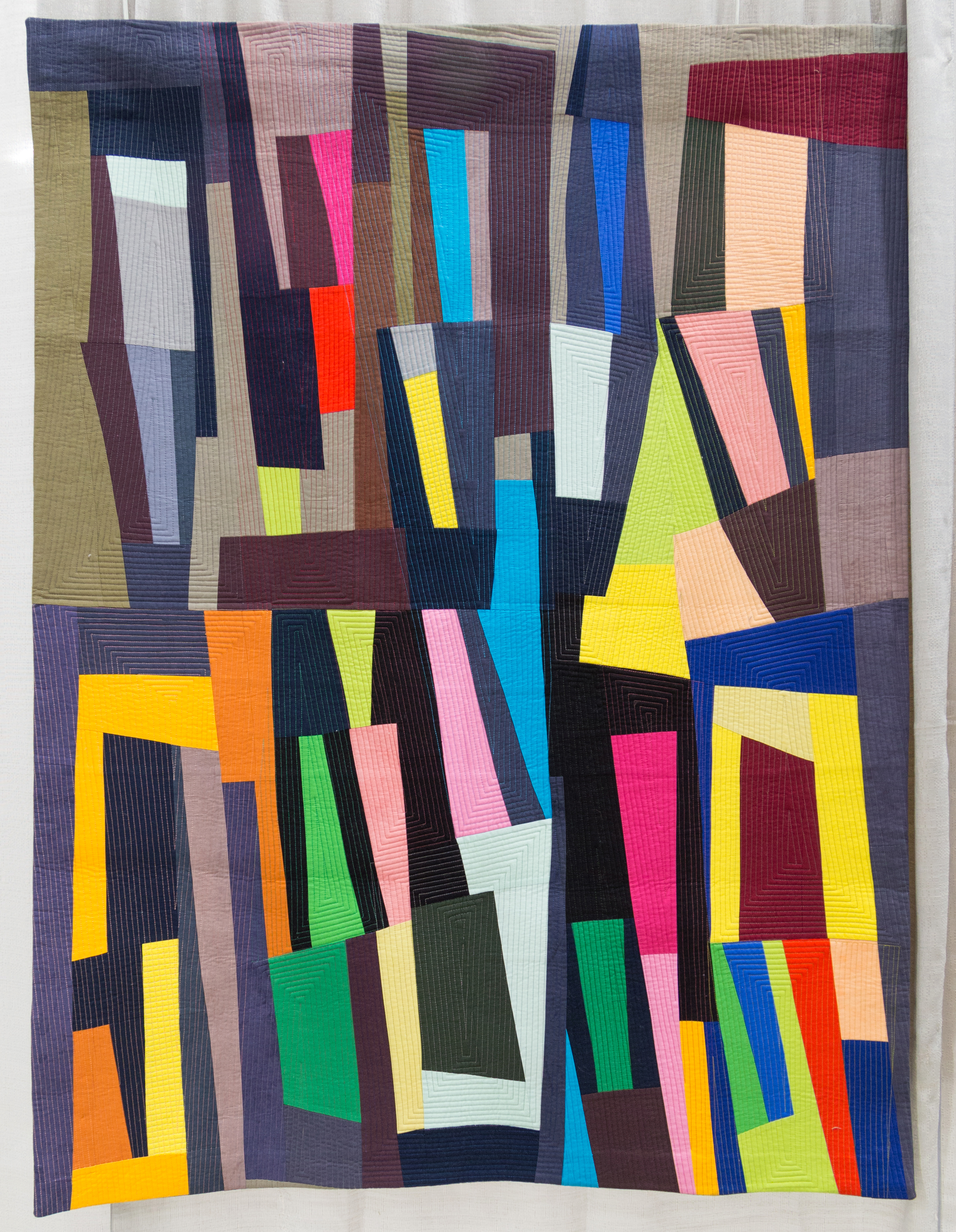 """2nd Place: Aleph Bet  41"""" x 55"""" Pieced & Quilted by Serena Brooks Los Angeles, California Los Angeles MQG"""