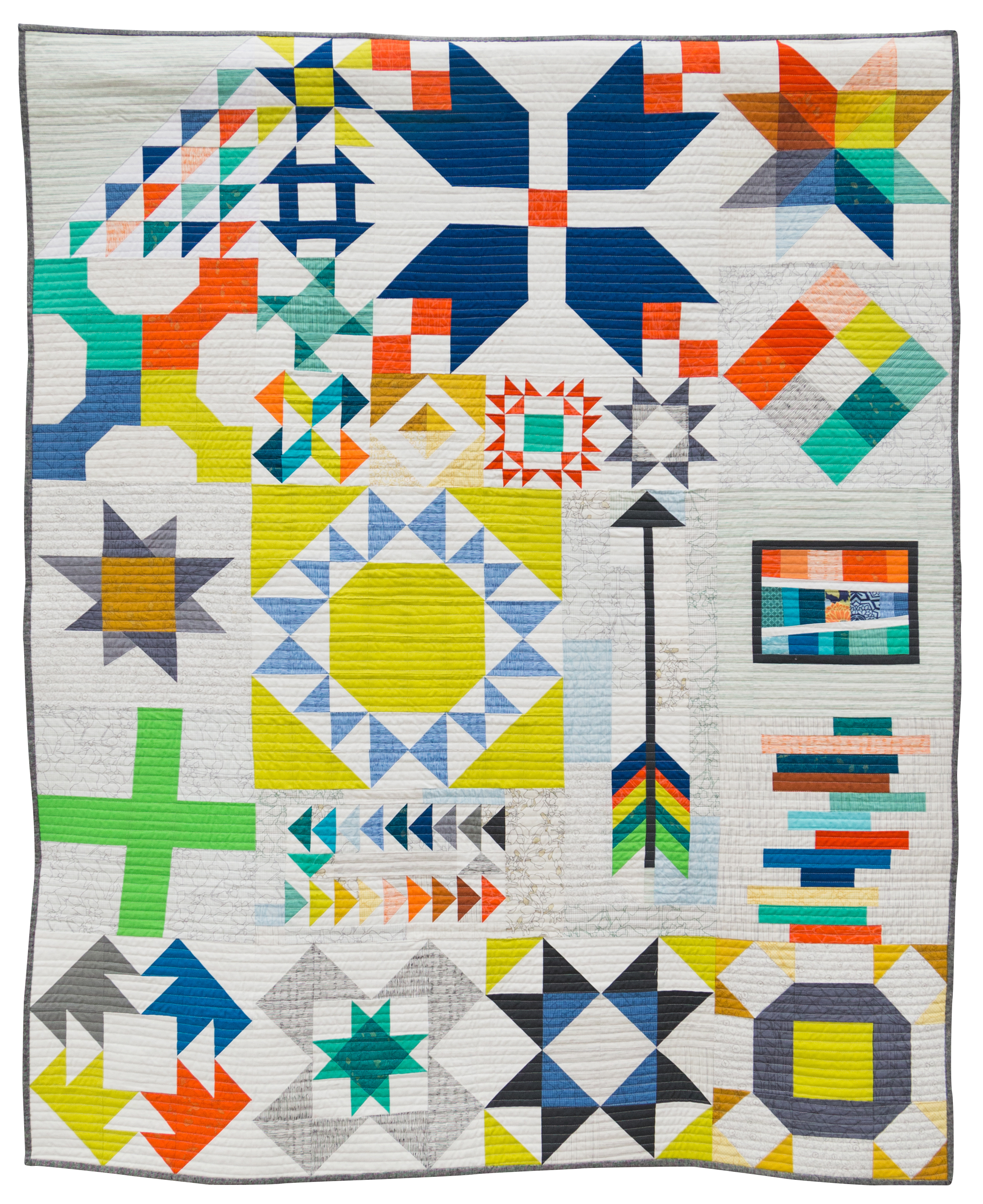 """1st Place: Long Island Modern Sampler  48"""" x 59"""" Pieced & Quilted by Kim Soper Centerport, New York Individual MQG Member"""