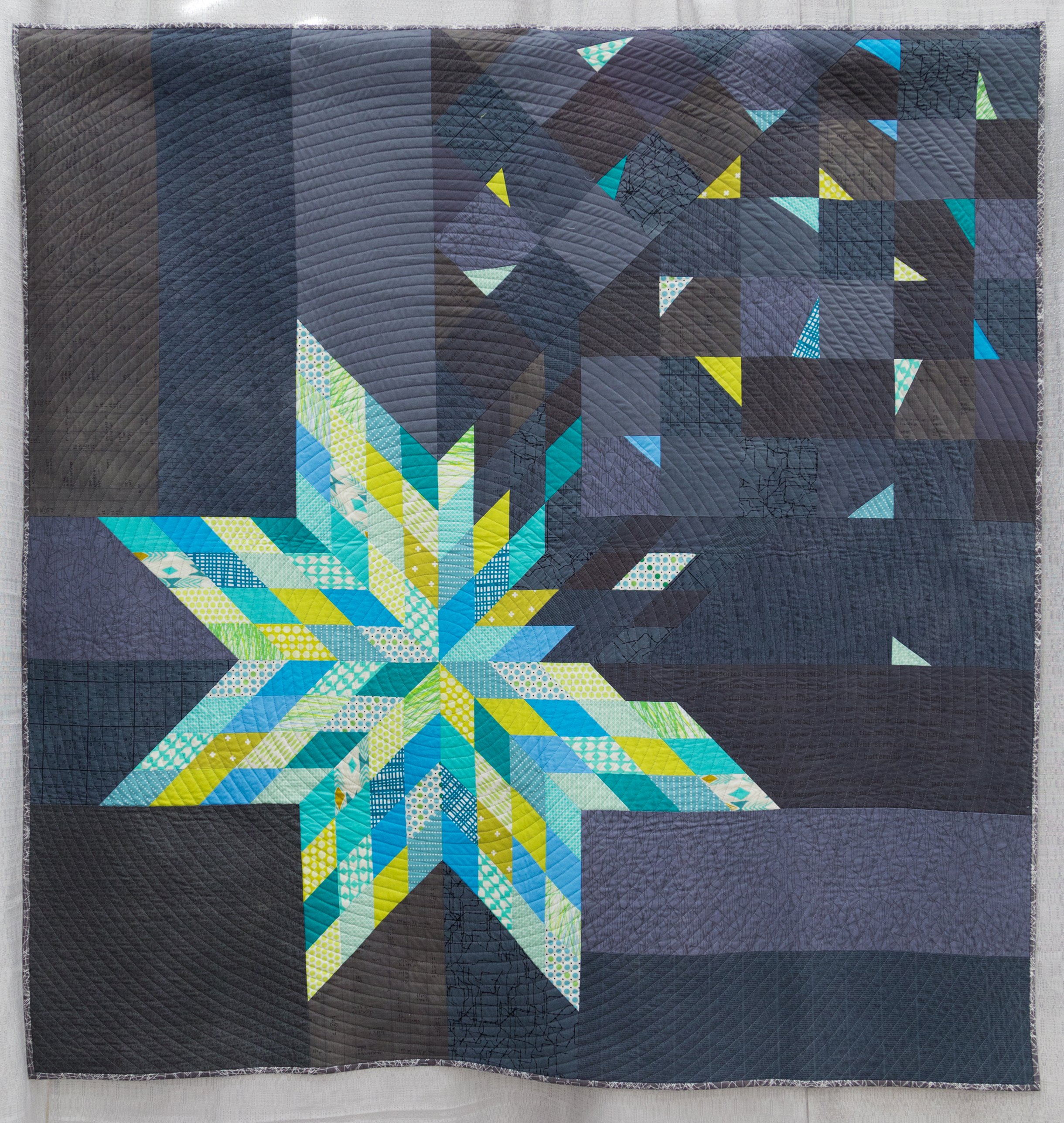 """2nd Place: Deconstructed LoneStar  58"""" x 60"""" Pieced & Quilted by: Amy Struckmeyer Oak Park, Illinois Chicago MQG"""
