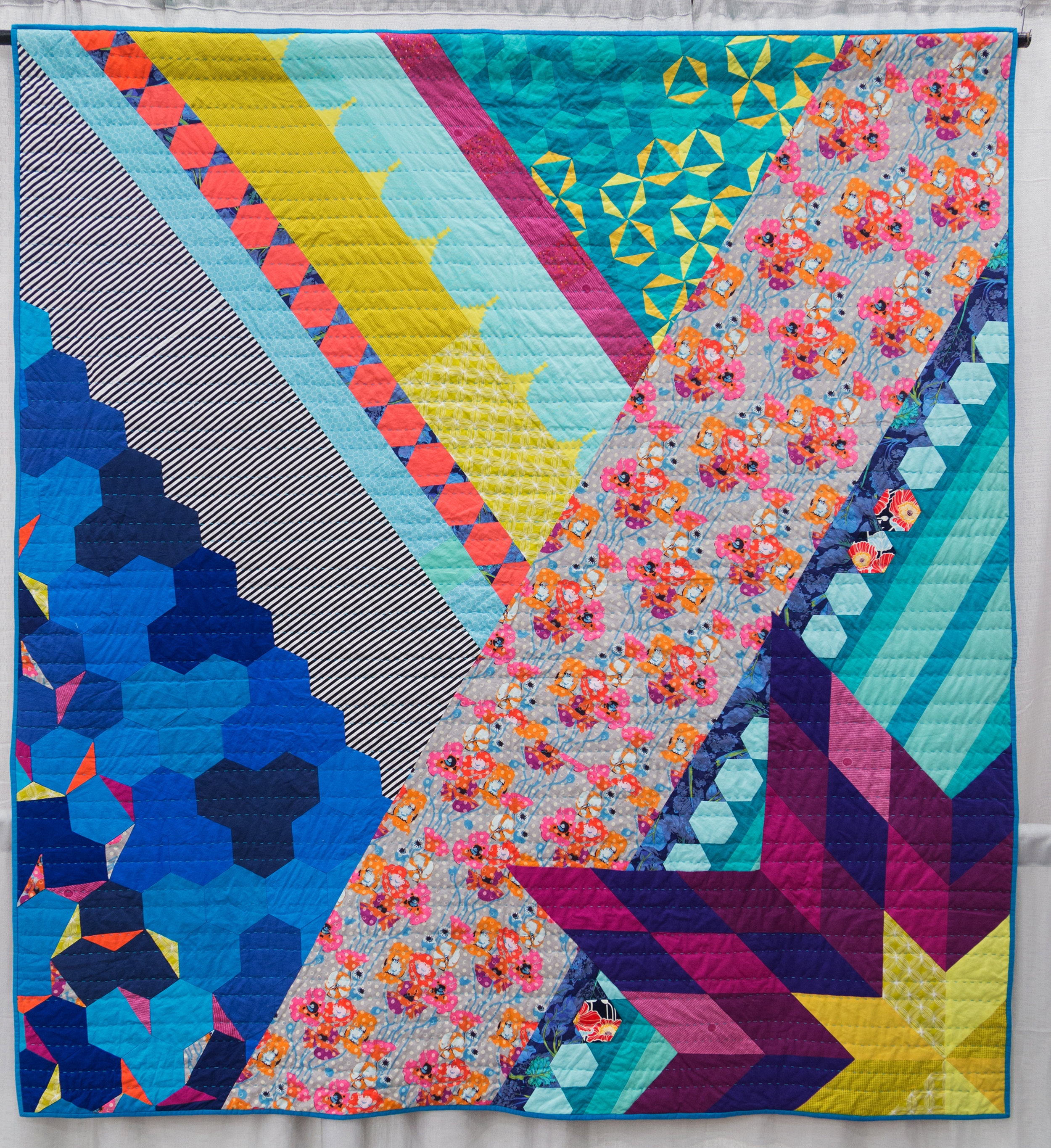 """3rd Place: Refresh  80"""" x 90"""" Pieced & Quilted by: Anna Boenish Seattle, Washington Seattle MQG"""