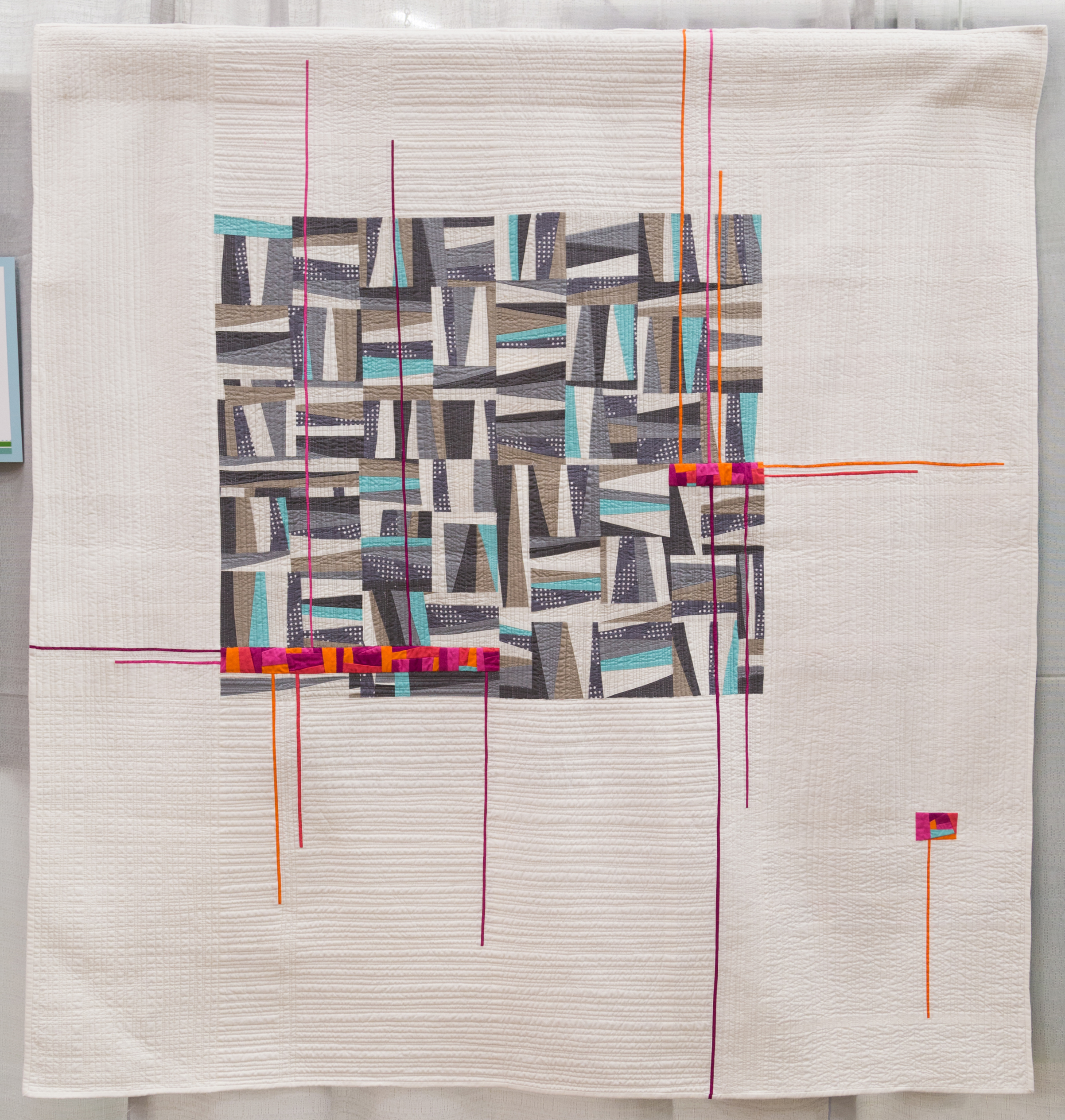 """3rd Place: Read Between the Lines  54.5"""" x 57"""" Pieced & Quilted by Stephanie Ruyle Denver, Colorado Front Range MQG, Denver Metro MQG"""