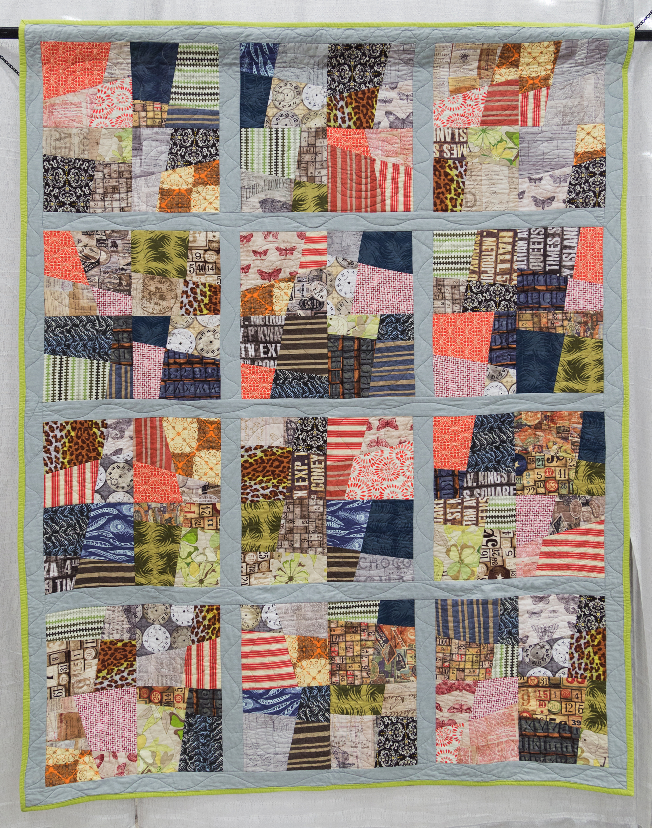 """2nd Place: The Overgrown City  60"""" x 76"""" Pieced & Quilted by: Cadence Jenkins Ovilla, Texas Dallas MQG"""