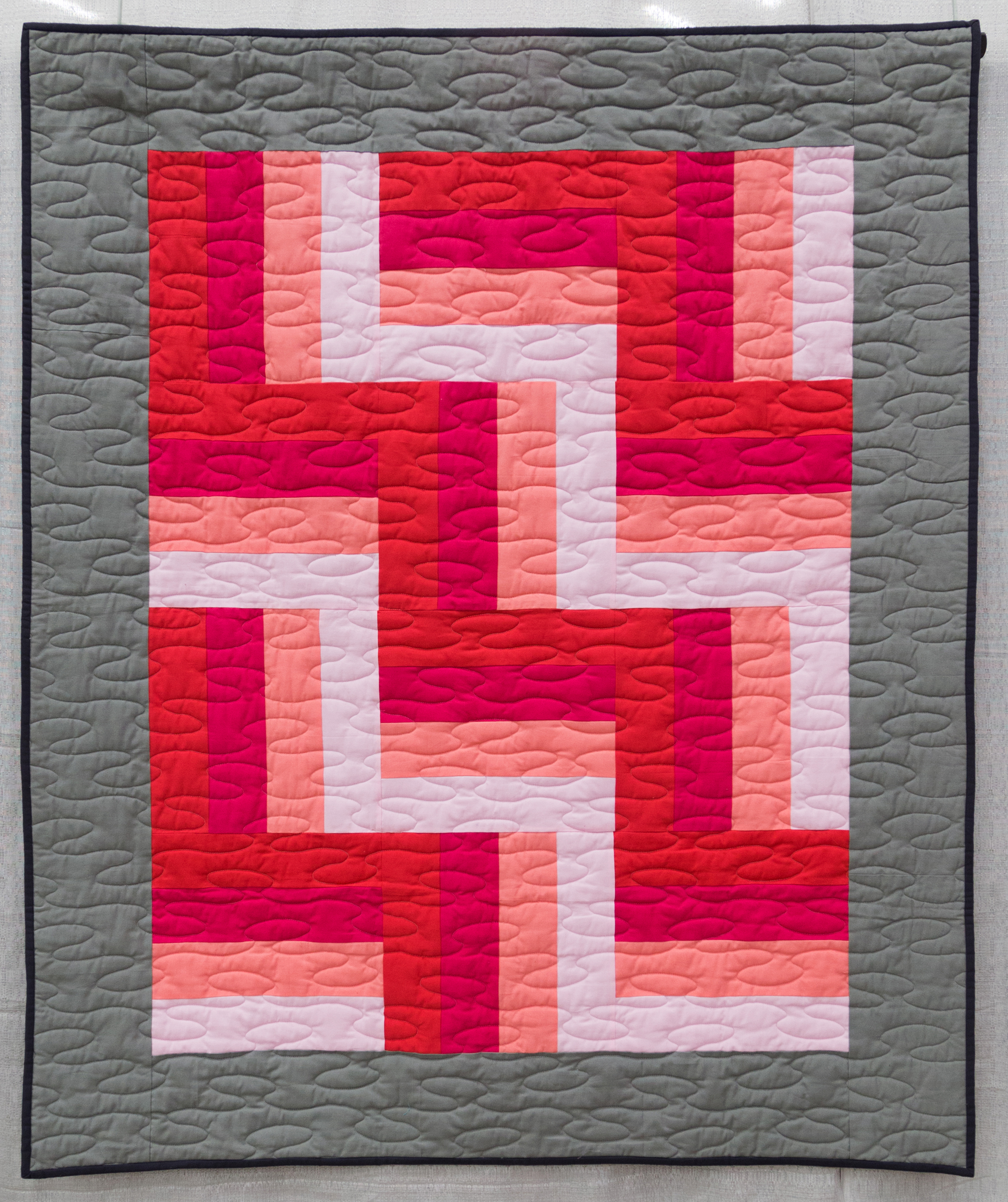 """3rd Place: Rothko's Dream  48"""" x 58"""" Pieced by: Evie Guigley & her mother Quilted by: Evie Guigley & Teresa Pino Hernando, Mississippi"""