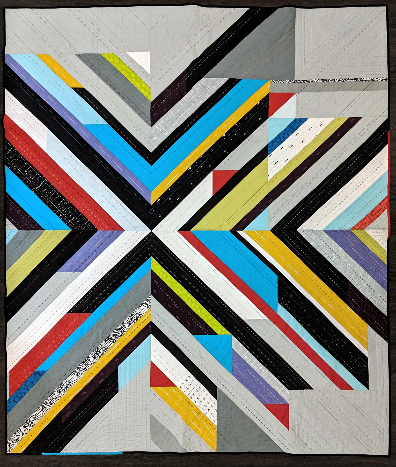 "2nd Place: Flux  63"" x 76"" By Lucinda Walker Austin MQG Austin, TX, United States @lucindawalkerart"