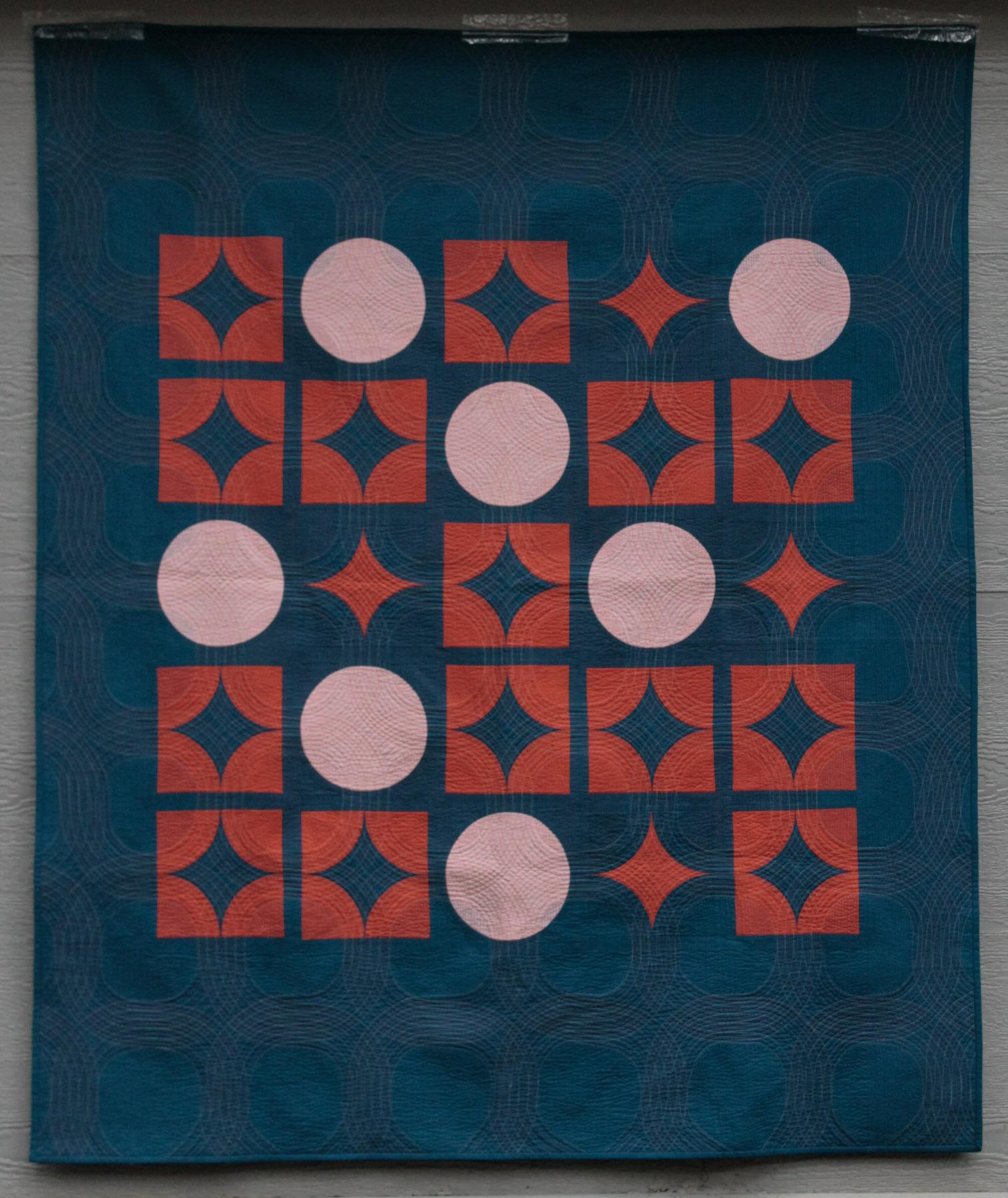 """2nd Place: Astronomer's Daughter  59"""" x 70"""" By Brigit Dermott Gainesville MQG Gainesville, Florida @brigitgail"""