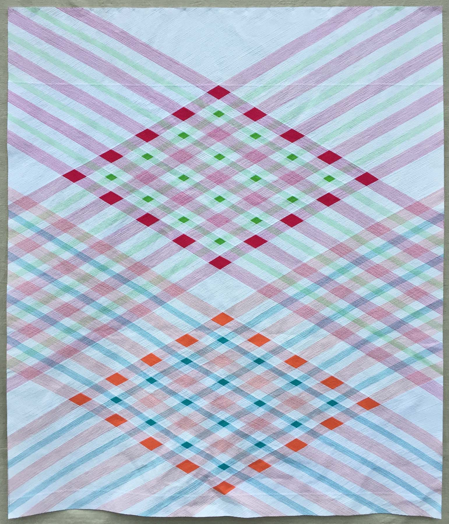 "1st Place: Complementary Convergence  66"" x 78"" By Cassandra Beaver Central Ohio MQG Urbana, Ohio @cassandra.beaver"