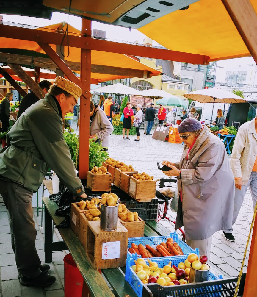 Finland is full of outdoor farmers markets during the summer months like this one in Kuopio.