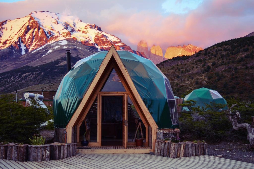 Stay at an geodesic dome ecolodge - EcoCamp Patagonia is an award-winning and critically and publicly lauded sustainable hotel located in the heart of Torres del Paine National Park.