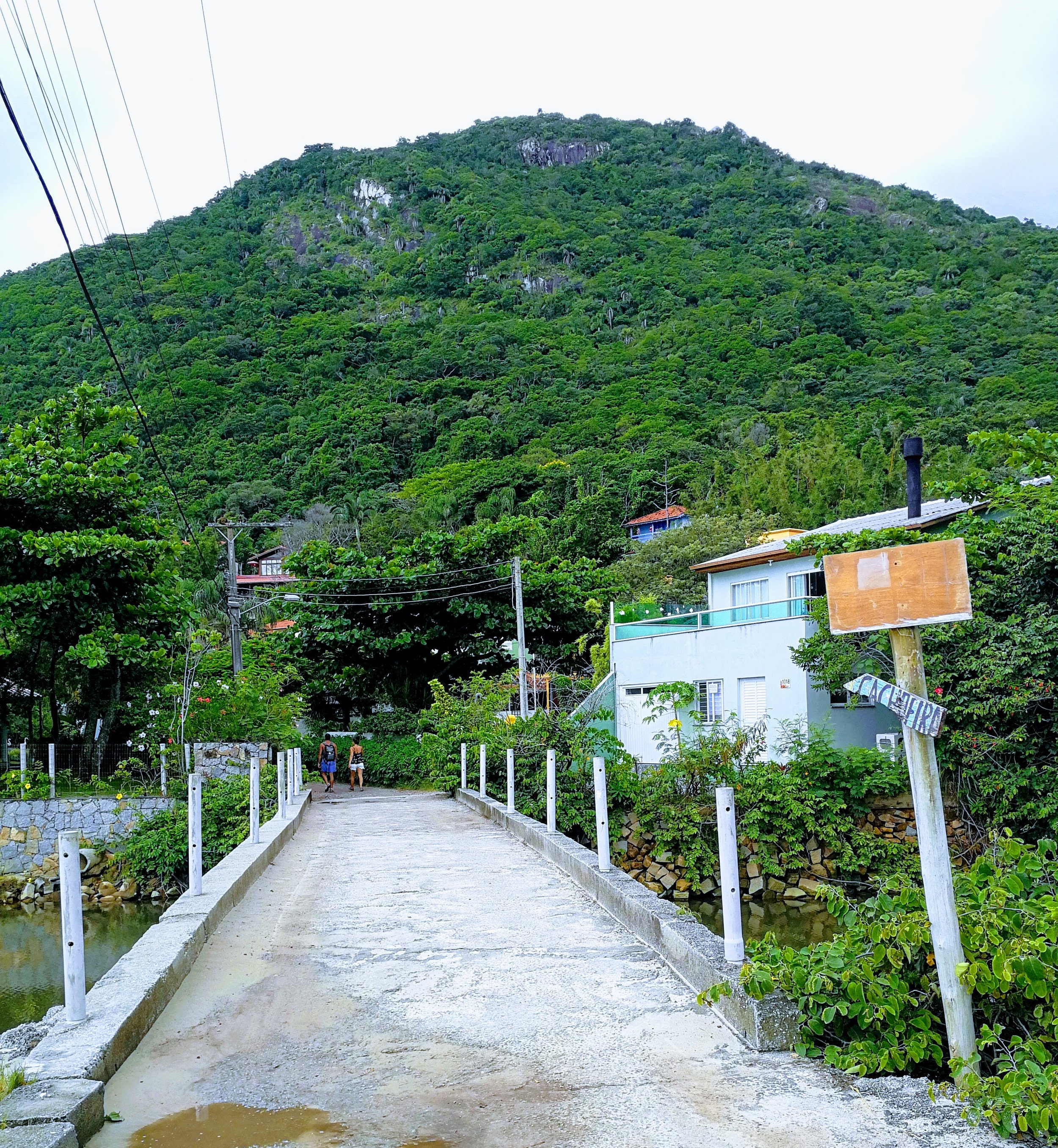 """You must cross this concrete bridge at Praia Solidão to get to the trail. Just follow the signs that say """"cachoeira"""""""