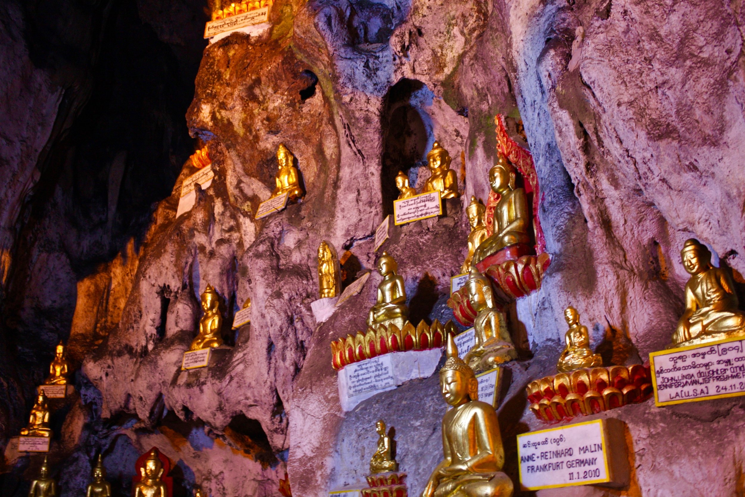 The Pindaya cave in Central Burma is an important Buddhist pilgrimage site. The cave is cramped with thousands of Buddha images in various styles and sizes.