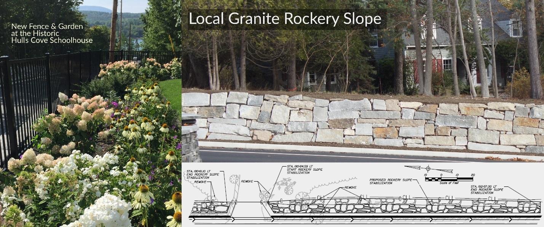 local granite rockery slope