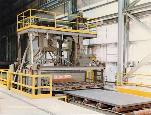 """Our horizontal Wheelabrator allows for shot blast cleaning for your plate surfaces. OSSP can wheelabrate up to 120"""" wide material at any length and up to 12"""" thick."""