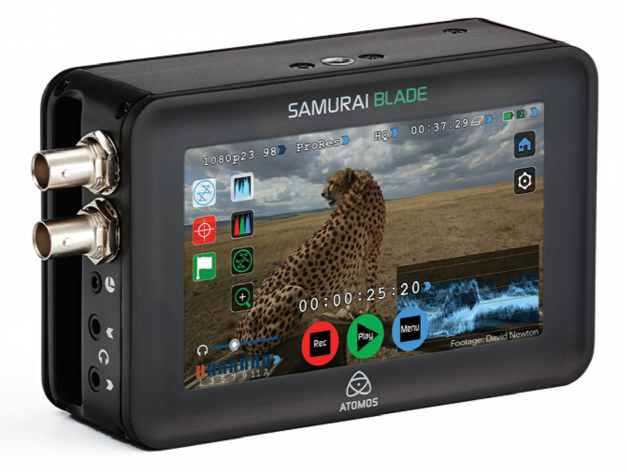 Atomos digital recorder provides hours of media and the solid ProRes codec.