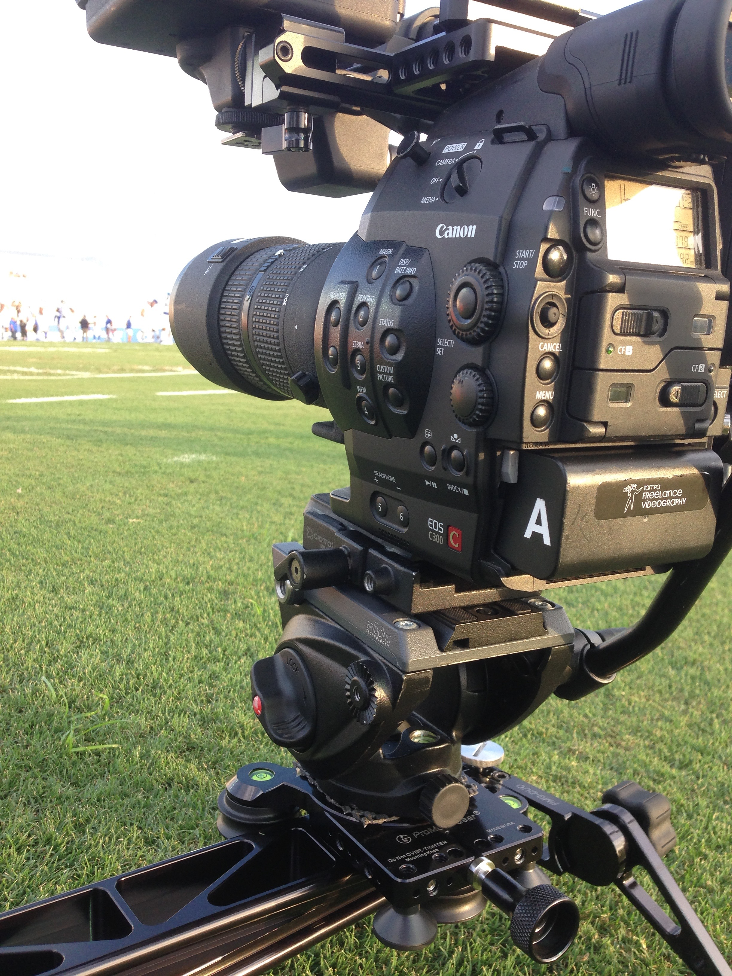 Canon C300 with a 80-200/2.8 on the slider.