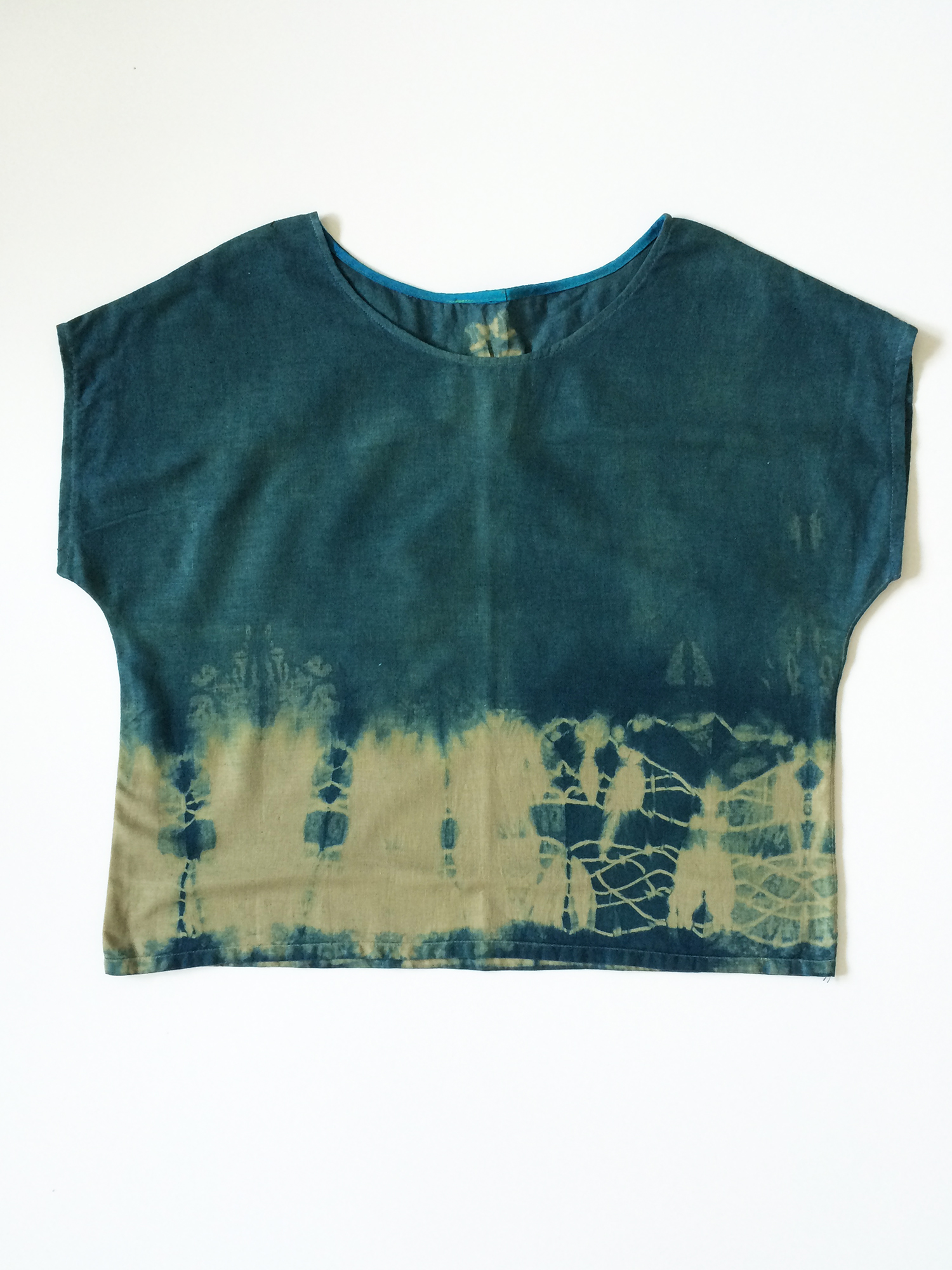 Indigo Box Top // Made from recycled cotton fabric and dyed with indigo. // July 2016