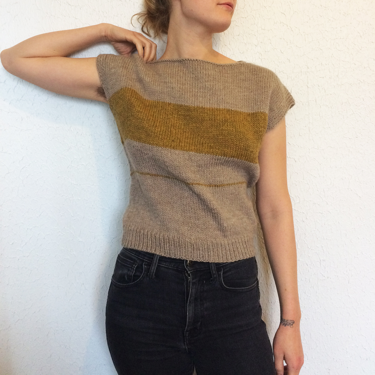Otte Knit Top // 100% wool, handknit. Inspired by the weavings of Benita Koch-Otte of the Bauhaus // September 2016