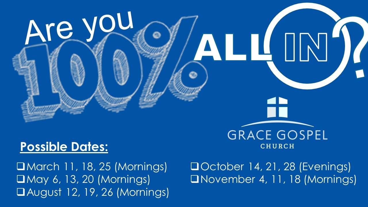 """Grace will be offering 5 """"All In """"classes throughout 2018 and we want EVERYONE to join! If you're already a member of Grace, you can be refreshed and reminded as we talk through who we are as a Grace Family, why we do what we do, and where we are headed in the future! If you are interested in becoming a member, this is your first step! Discover why church membership is important and what it means to be a member of the Grace Family!  Sign up online at  https://www.surveymonkey.com/r/JLC5ZC9 !"""