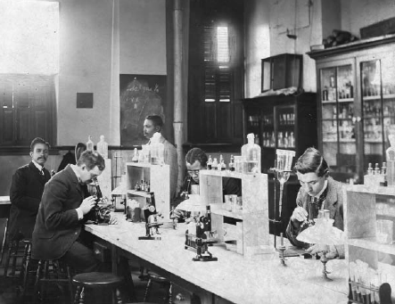"""""""Howard University, Washington, D.C., ca. 1900—class in bacteriology laboratory,"""" W.E.B. Du Bois, African American Photographs Assembled for 1900 Paris Exhibition, Prints and Photographs Division, Library of Congress"""