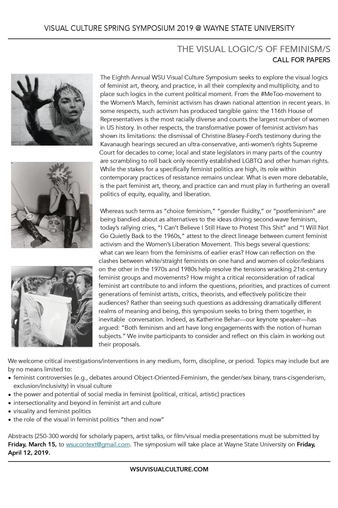 The Visual Logic/s of Feminism/s - Eight Annual Visual Culture Graduate Symposium4.12.2019