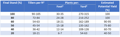 Table 1. Modified excerpt of Table 3.4. Wheat yield potential based on plants per square foot from Comprehensive Guide to Wheat Management in Kentucky including estimated tiller counts.