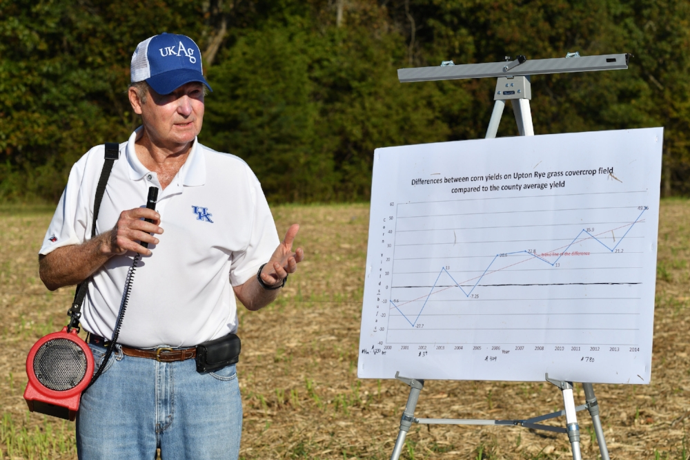 Dr. Lloyd Murdock shared how corn yields improved on an Illinois farm following several years of planting an annual ryegrass cover crop. Photo courtesy of Farm Scholar LLC.