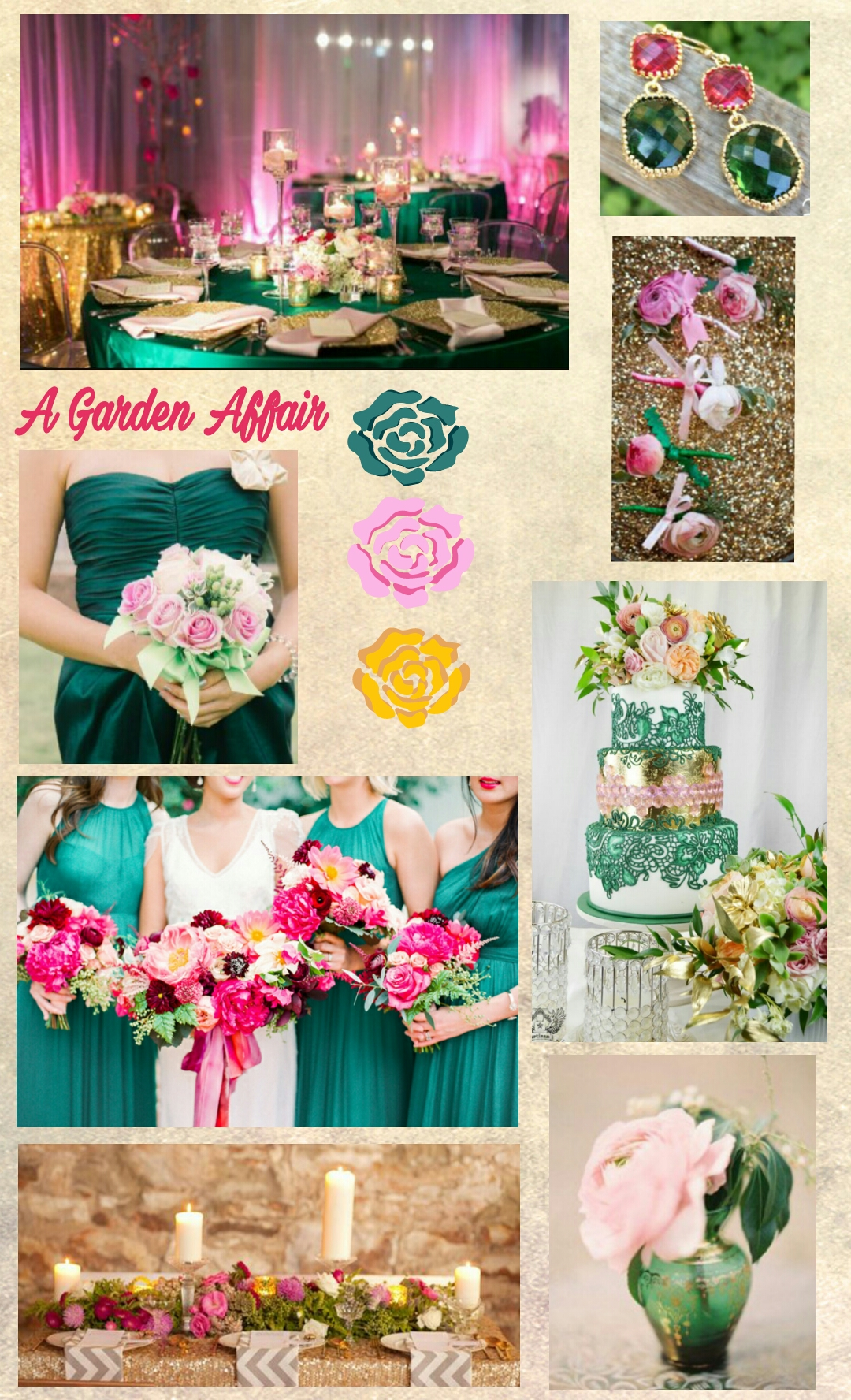 A Garden Affair, with luscious pinks and emeralds and glittering gold, will make any wedding Royally Special!