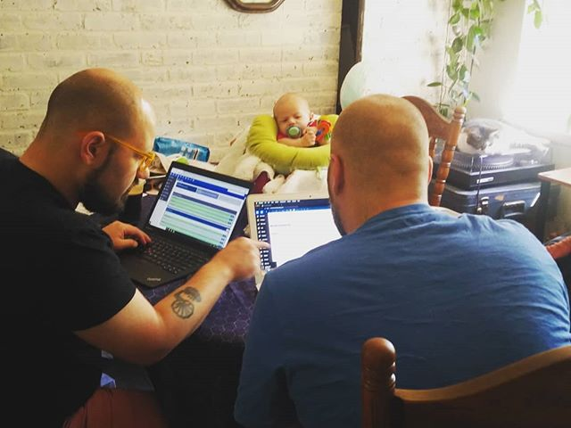 The boys are working hard planning some upcoming #scenicevents while intern Hank watches and learns 😊 @scenic_cody @scenic_logan . . . . . #weddingprofessionals #weddings #weddingpro #weddingplanning #weddingdj #wedding #Chattanooga #chattanoogaweddings #insta #instawedding #workworkwork #workinghard #hustle #dadlife #scenicevent #sceniceventsquad