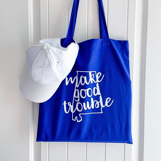 Going to the beach? Going to the library? Going to make good trouble? You'll need a tote, and $1 from every tote sold will go to Emerge Alabama to elect more Democratic women in our state. Let's keep fighting. Link to purchase in bio.