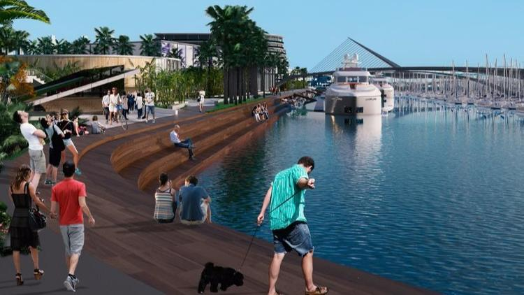 Sunroad's proposal for Harbor Island East redevelopment illustrates the new feeling and amenities planned. (Sunroad Enterprises)